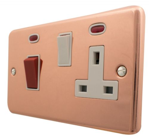 G&H CBC29W Standard Plate Bright Copper 45 Amp DP Cooker Switch & 13A Switched Socket